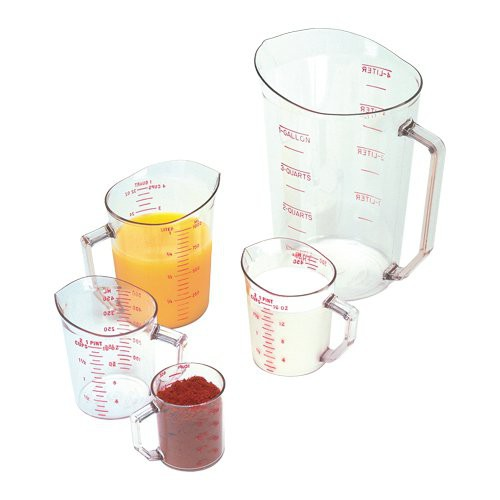 Measuring Cups are crystal clear making measuring easy.